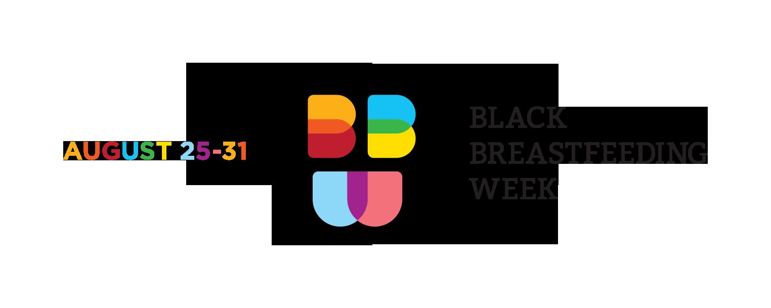 Black Breastfeeding Week Logo a black circle with rainbow BBW and August 25-31 stylized